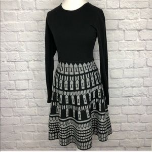 🍃Eliza J Black and Gray Jacquard Sweater Dress
